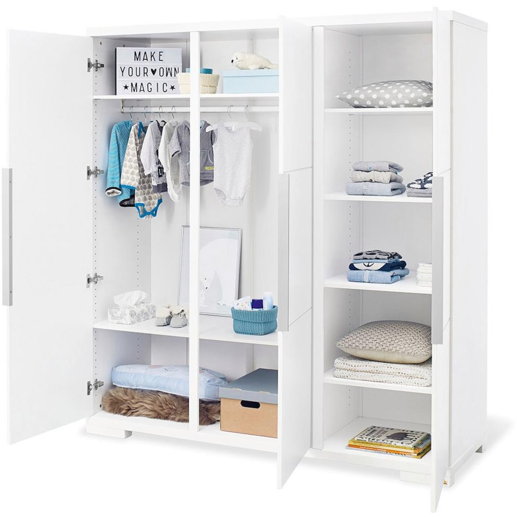 Pinolino® Babyzimmer-Komplettset »Polar«, (Set, 3 St.), extrabreit groß; mit Kinderbett, Schrank und Wickelkommode