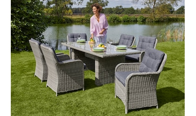 KONIFERA Gartenmöbelset »Menorca«, 19 - tlg., 6 Sessel, Tisch 200x100 cm, Polyrattan kaufen