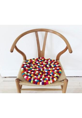 Wooldot Sitzkissen »Mixed Color«, rund, Filzkugel-Teppich, reine Wolle, auch als Set... kaufen