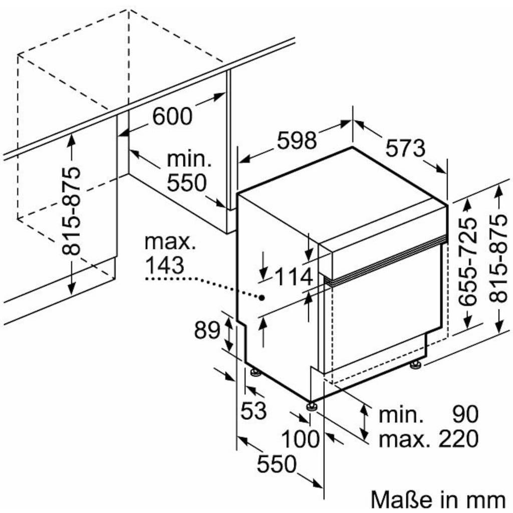 Constructa teilintegrierbarer Geschirrspüler »CG4A05J5«, CG4A05J5, 12 Maßgedecke