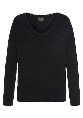 Herrlicher V-Ausschnitt-Pullover »LINI«, in hochwertiger Melange-Optik kaufen