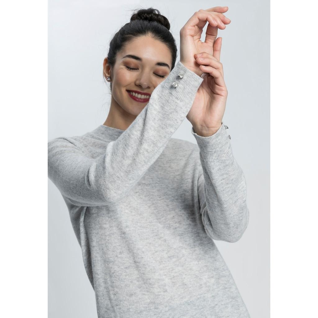 AJC Strickpullover, mit Zierknöpfen aus hochwertiger reiner Merino-Wolle