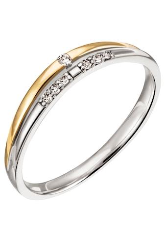 Firetti Diamantring »Nobel, 3,0 mm breit, Bicolor-Optik, Glanz, teilw. rhodiniert, massiv«, mit Brillanten kaufen