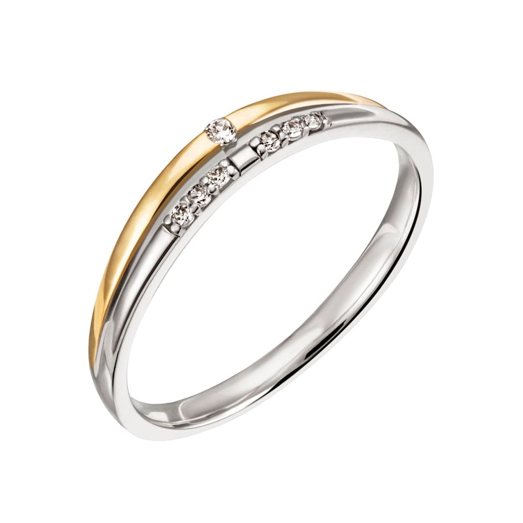 Firetti Diamantring »Nobel, 3,0 mm breit, Bicolor-Optik, Glanz, teilw. rhodiniert, massiv«, mit Brillanten