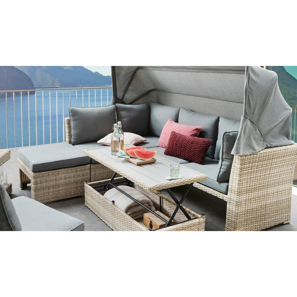 Destiny Loungeset »ARUBA III«, (20 tlg.), mit verstellbarem Tisch,beige meliert, Polster grau, pflegeleichtes, UV beständiges Polyrattan