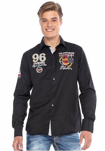 Cipo & Baxx Langarmhemd, mit Applikationen und Stickereien kaufen