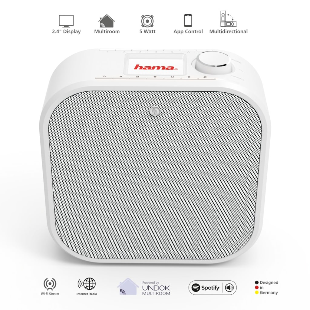 Hama Digitalradio (DAB+), (A2DP Bluetooth-WLAN-Bluetooth-AVRCP Bluetooth Digitalradio (DAB+)-FM-Tuner-Internetradio 5 W)