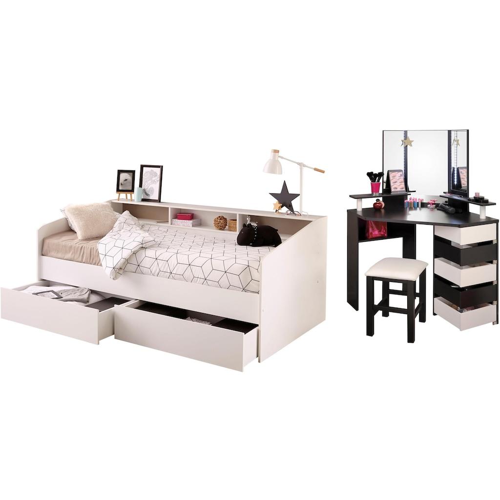 Parisot Jugendzimmer-Set »Sleep«, (Set, 3 tlg.), Stauraumbett, Schminktisch und Hocker