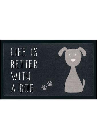 my home Fußmatte »Hund«, rechteckig, 5 mm Höhe, Schmutzfangmatte, mit Spruch kaufen