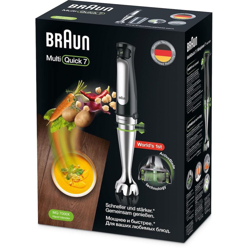 Braun Stabmixer »MQ7000X Multi Quick 7«, 1000 W, mit 600ml Mixbecher, stufenlose Geschwindigkeitsanpassung