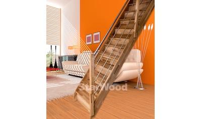 STARWOOD Raumspartreppe »Rhodos«, geschl. Stufen, gerade, Holz - Edelstahlgeländer rechts kaufen
