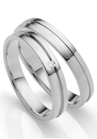Firetti Trauring »glanz, diamantgeschnittener Vertiefung, 3,5 mm breit«, Made in Germany, wahlweise mit oder ohne Brillant kaufen