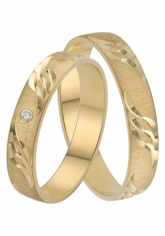Firetti Trauring mit Gravur »quergebürstet, mit Diamantschnitt in Wellenform, 4,0 mm breit« kaufen