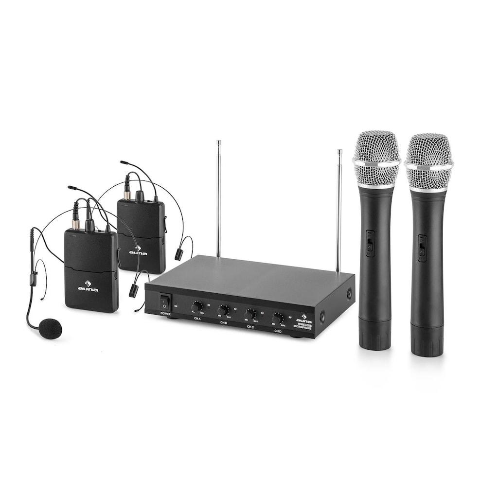Auna 4-Kanal-VHF-Funkmikrofon Set 2xHeadset 2xHandmik