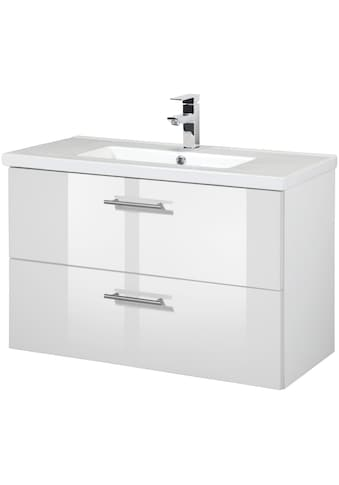 WELLTIME Waschtisch »Trento«, Waschtisch SlimLine, Breite 80 cm, Tiefe 36 cm, (2 - tlg.) kaufen