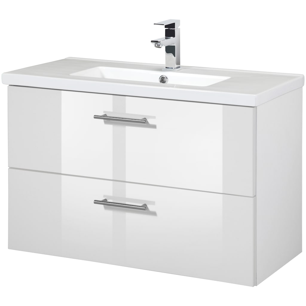 WELLTIME Waschtisch »Trento«, Waschtisch SlimLine, Breite 80 cm, Tiefe 36 cm, (2-tlg.)