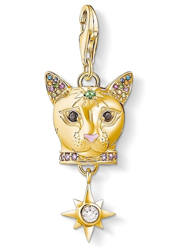 THOMAS SABO Charm-Einhänger »Katze gold, 1819-471-7«, mit Emaille, synth. Korund, Glassteinen und Zirkonia kaufen
