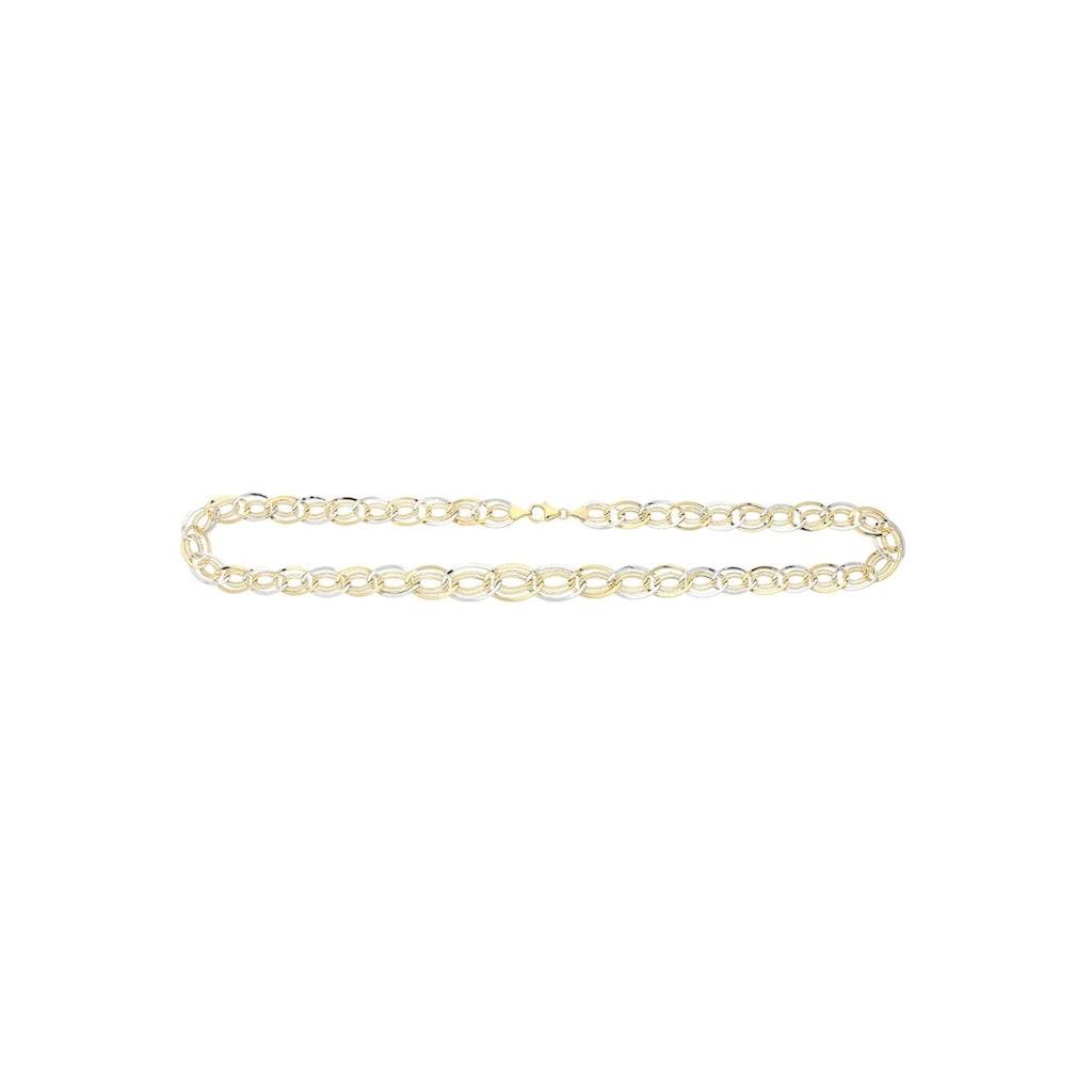 Firetti Goldkette »oval, glanz, rhodiniert, bicolor«