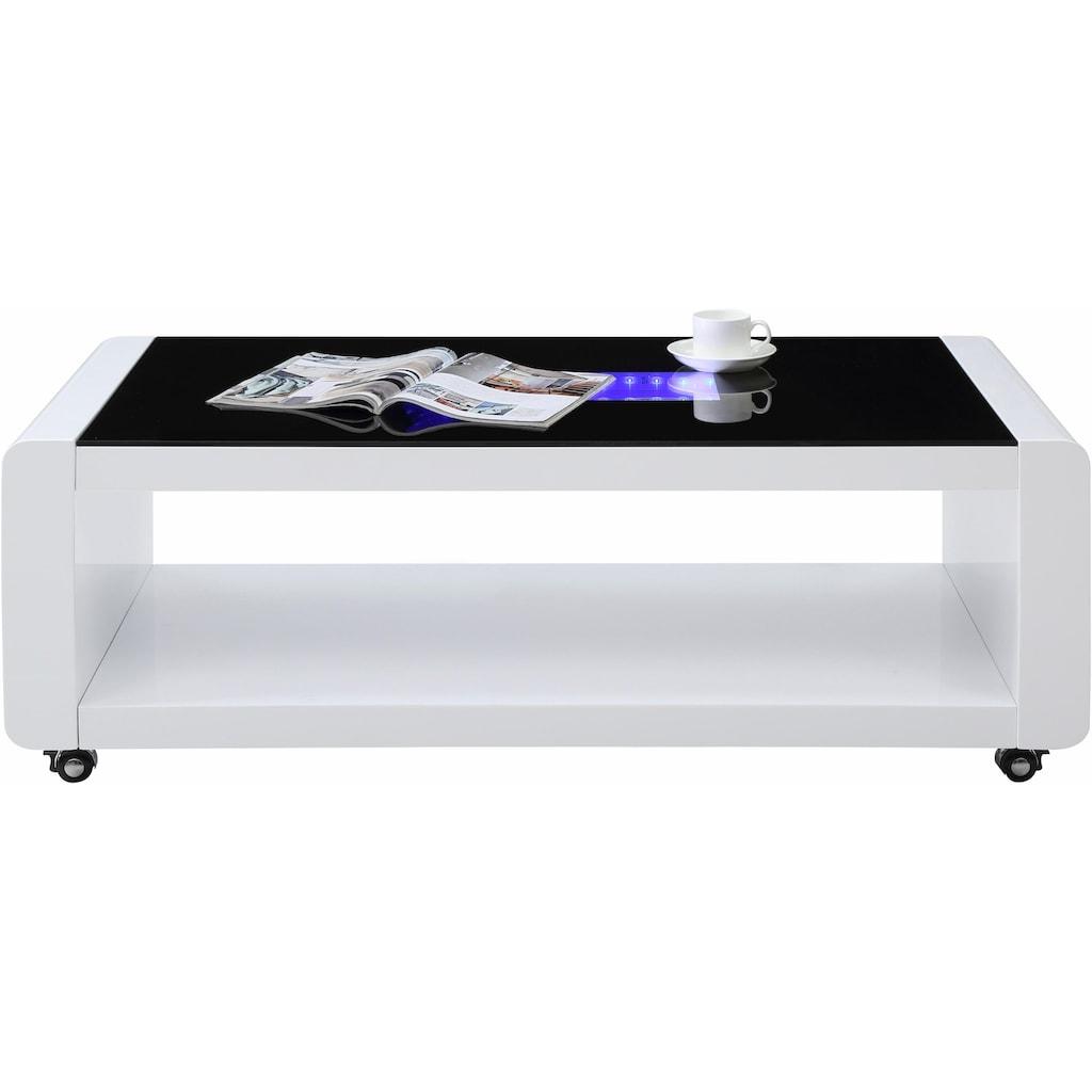 Homexperts Couchtisch, mit 3D-LED-Beleuchtung, auf Rollen
