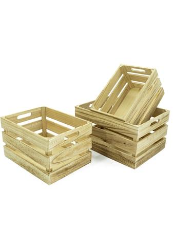 NOOR LIVING Aufbewahrungsbox »Holzkisten-Set, 3-tlg., natur, rechteckig«, (Set, 3 St.) kaufen