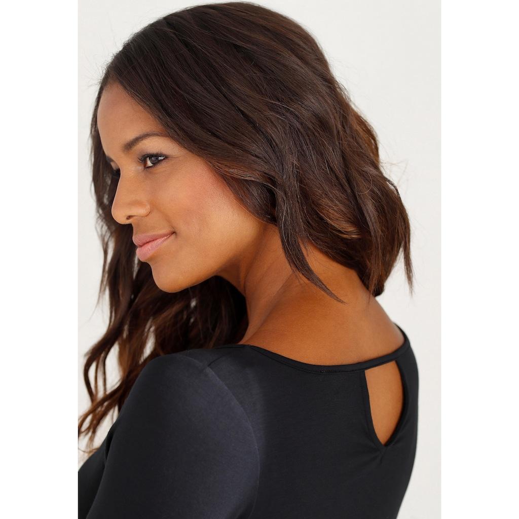 LASCANA 3/4-Arm-Shirt, mit modischem Cut-out im Nacken