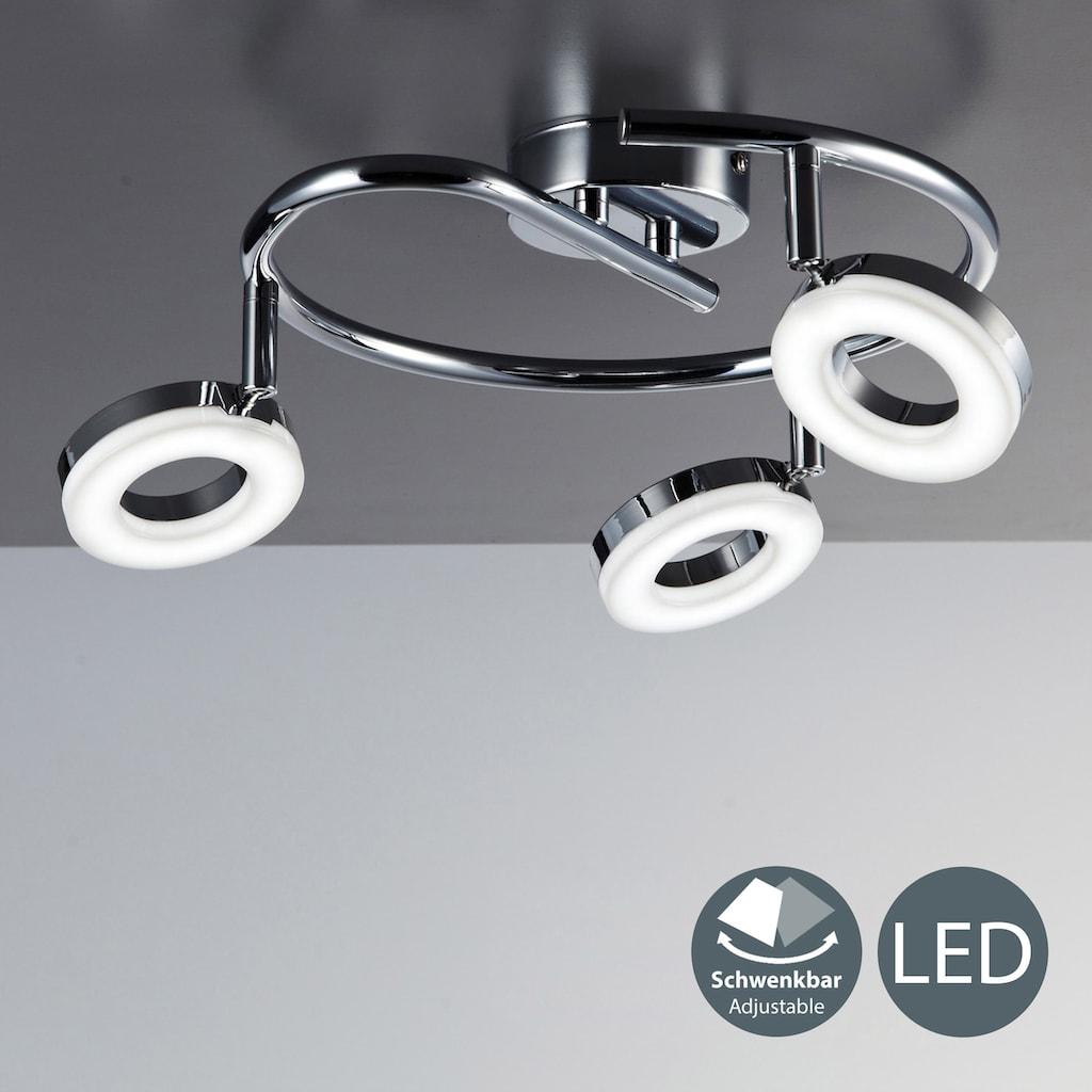 B.K.Licht LED Deckenspots »Yuna III«, LED-Board, Warmweiß, LED Deckenleuchte dreh- und schwenkbar Deckenlampe 3x 4,5W 450LM 3000K chrom