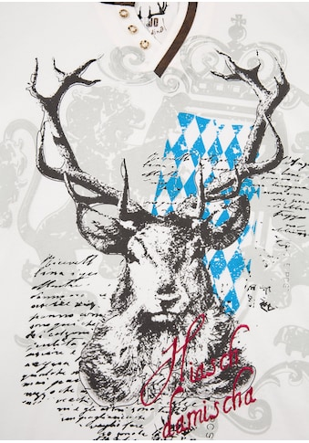 Marjo Trachtenshirt Herren mit Hirschmotiv und Bayern Wappen kaufen