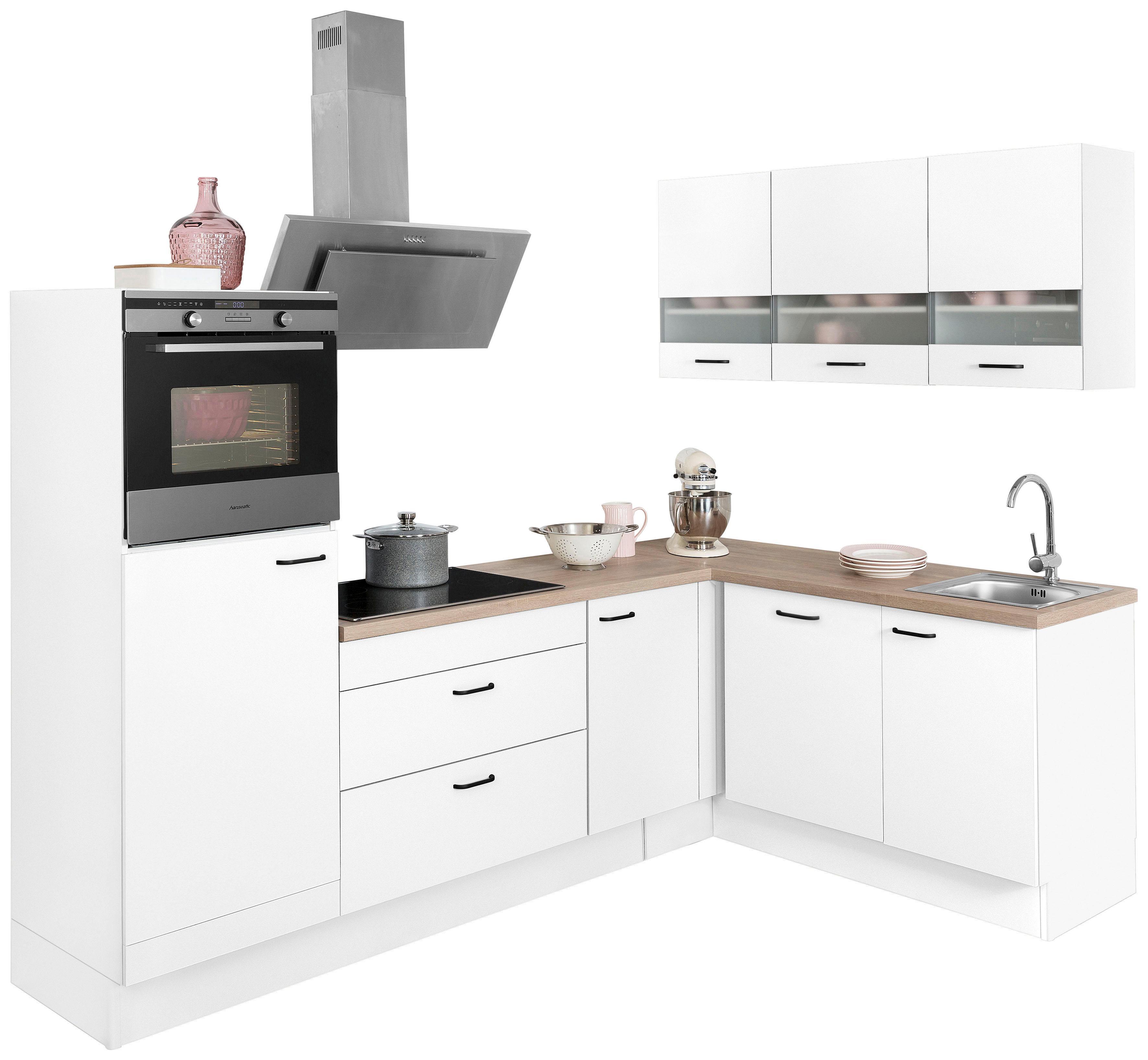 OPTIFIT Winkelküche ohne E-Geräte »Elga«, Stellbreite 265 x 175 cm   Küche und Esszimmer > Küchen > Winkelküchen   Weiß   Eiche - Nachbildung - Edelstahl - Melamin   OPTIFIT