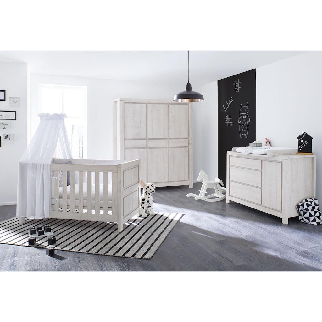 Pinolino® Babyzimmer-Komplettset »Line«, (Set, 3 St.), extrabreit groß; mit Kinderbett, Schrank und Wickelkommode