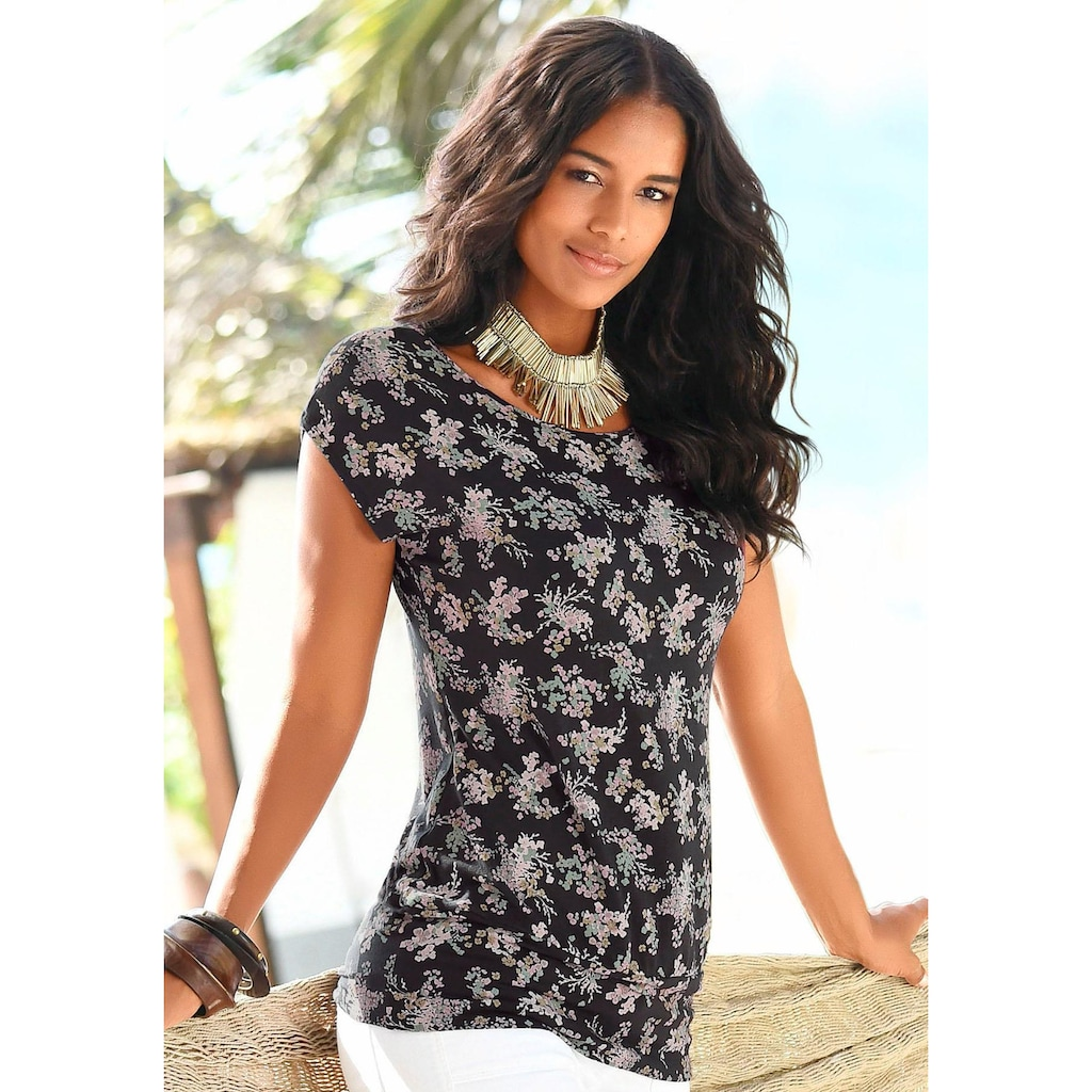 LASCANA Strandshirt, mit Allover-Blumendruck