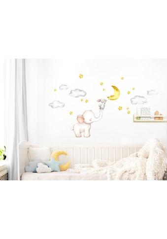 little DECO Wandtattoo »Little Deco Wandtattoo Elefant & Hase mit Mond und Sternen« kaufen