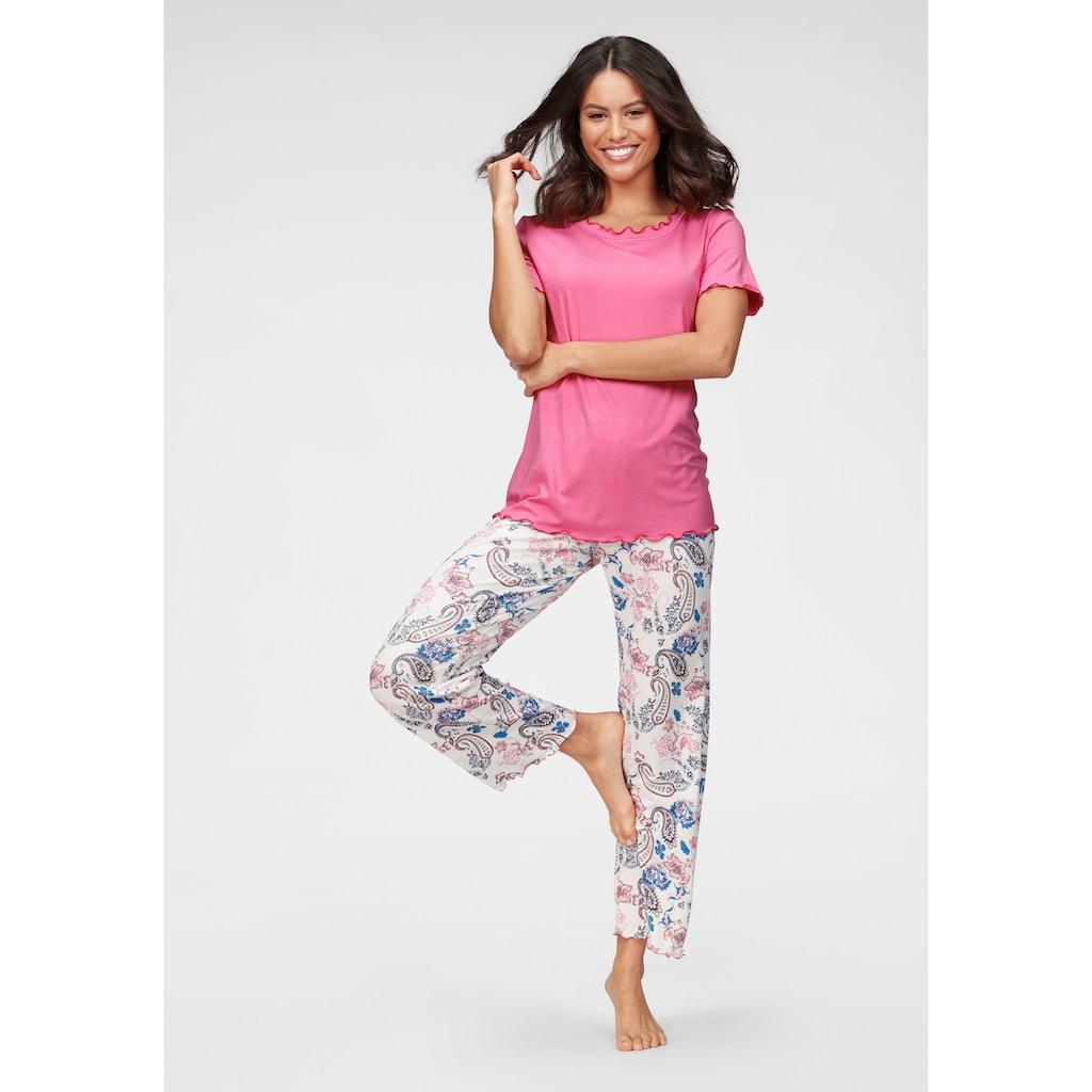 Cybèle Pyjama, mit Babylockdetails und geblümter Hose
