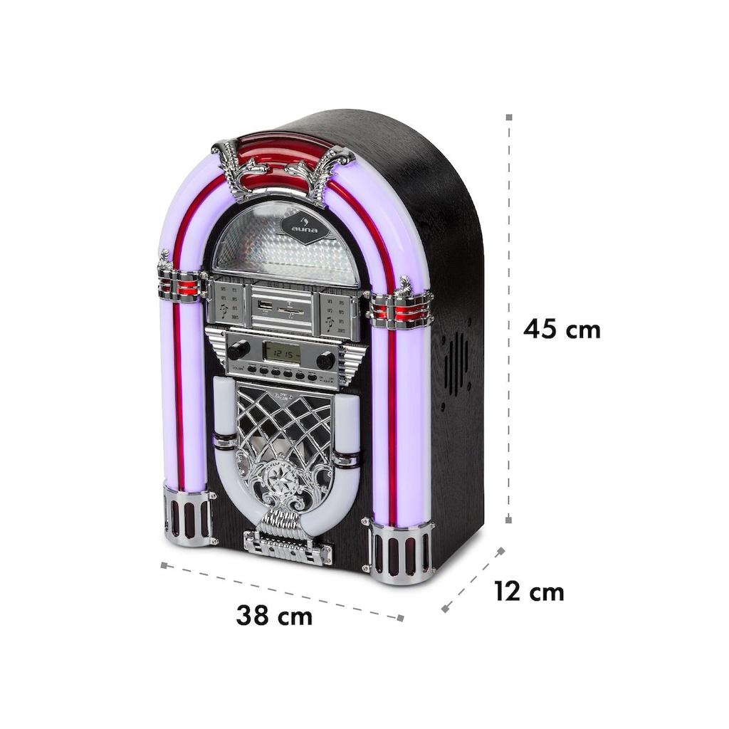 Auna Jukebox, BT, UKW-Radio, USB, SD, MP3, CD-Player, schwarz