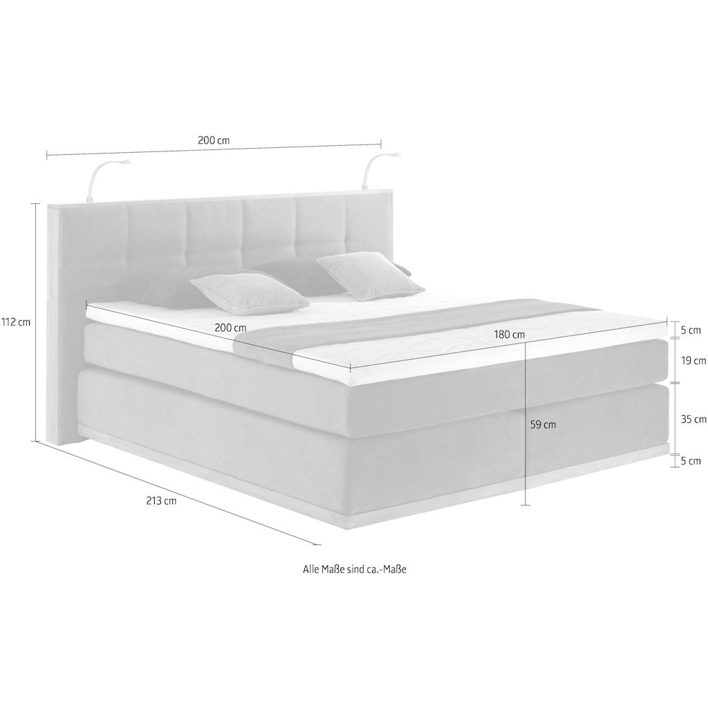 Places of Style Boxspringbett »Vinton«, (5 St.), aus massiver Eiche, mit LED-Beleuchtung, verschiedene Härtegrade (auch H4)