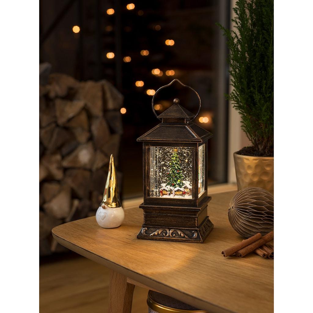 KONSTSMIDE Dekolicht, 1 St., Warmweiß, LED Schneelaterne mit Weihnachtsmarkt