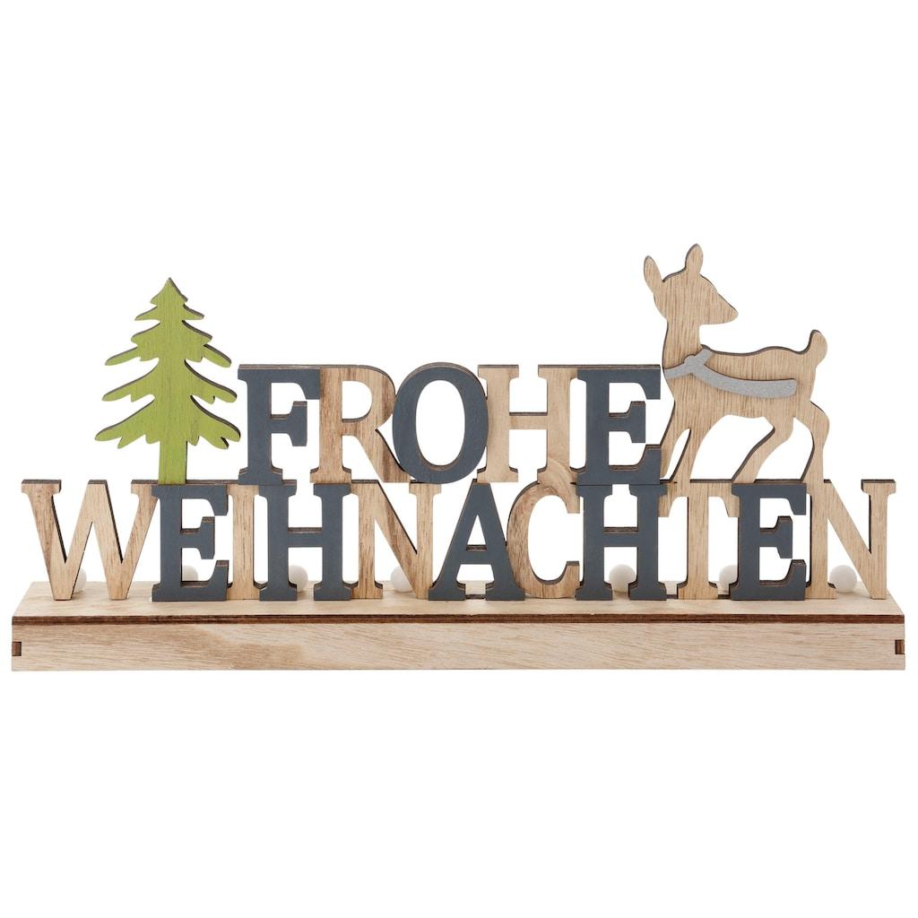 LED Dekoobjekt »Frohe Weihnachten«, LED- Schriftzug aus Holz, Batteriebetrieb
