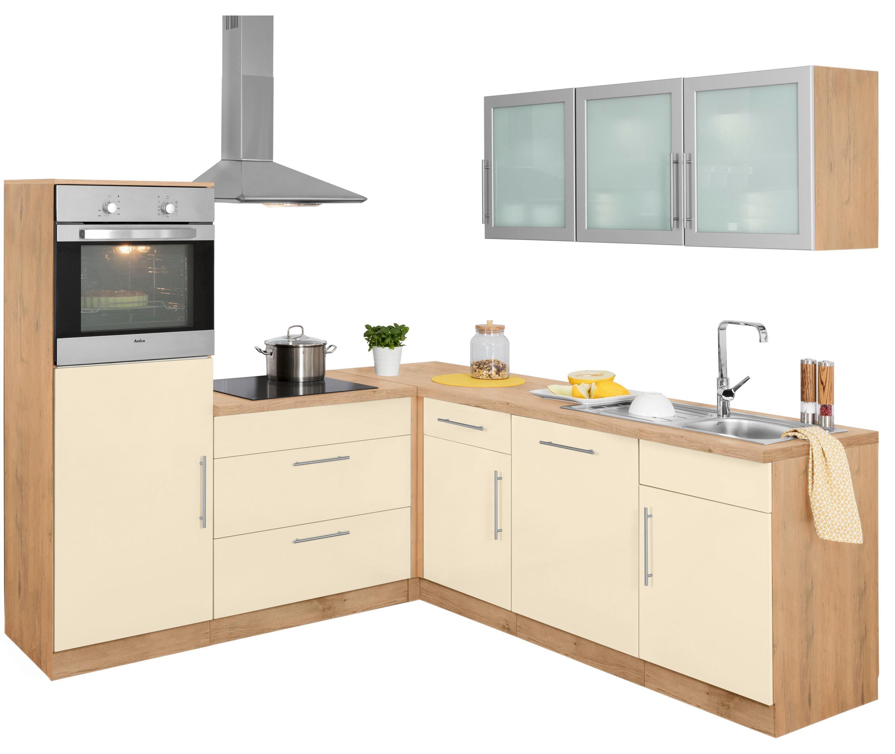 WIHO Küchen Winkelküche »Aachen« mit E-Geräten, Stellbreite 210 x 220 cm | Küche und Esszimmer > Küchen > Winkelküchen | Gelb | Edelstahl | WIHO KÜCHEN