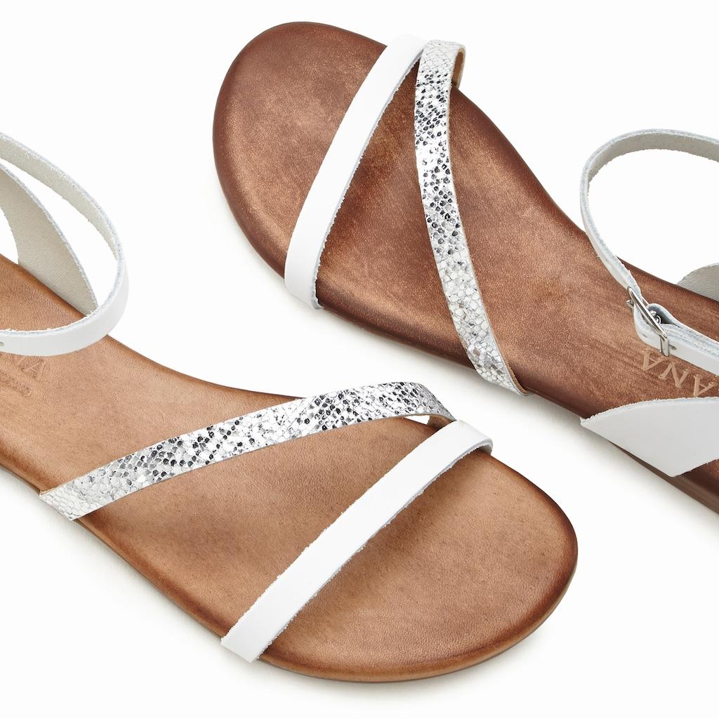 LASCANA Sandale, aus Leder mit Glitzerdetails
