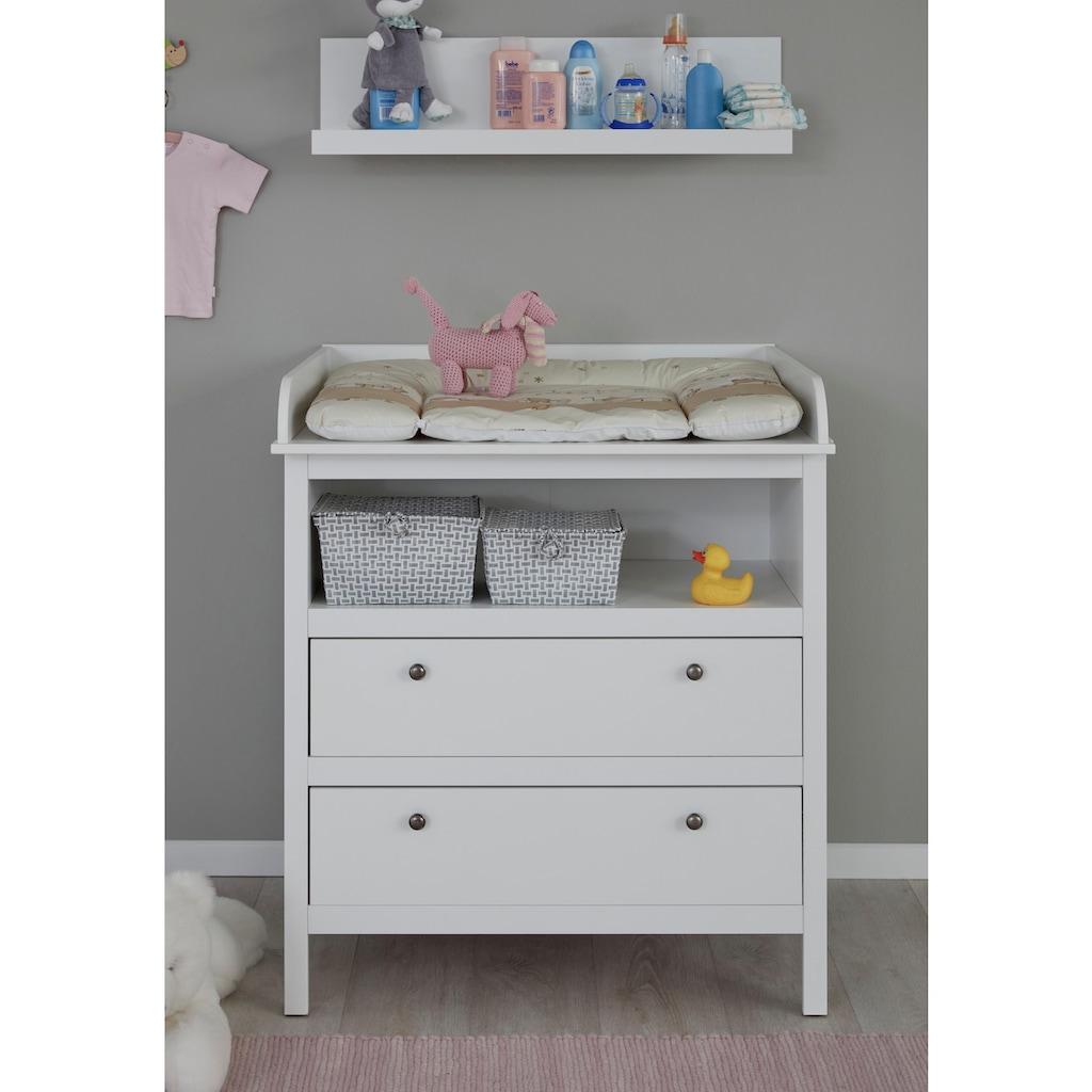 Babyzimmer-Komplettset »Westerland«, (Set, 4 tlg.), (4 tlg.) Bett + Wickelkommode + 2 trg. Schrank + Wandbord