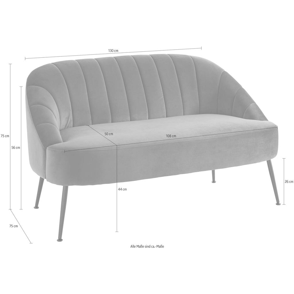 Leonique 2-Sitzer »Quincy«, aus schönem, weichem Samt-Optik Bezug, mit eleganter Raffung im Rückenpolsterbereich
