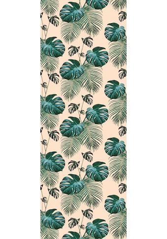 QUEENCE Vinyltapete »Tropische Blätter  -  grün/beige«, 90 x 250 cm, selbstklebend kaufen