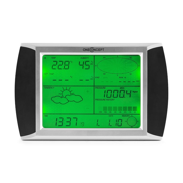 ONECONCEPT Funk Wetterstation Funkthermometer Barometer 100m LCD Display »Beaufort«