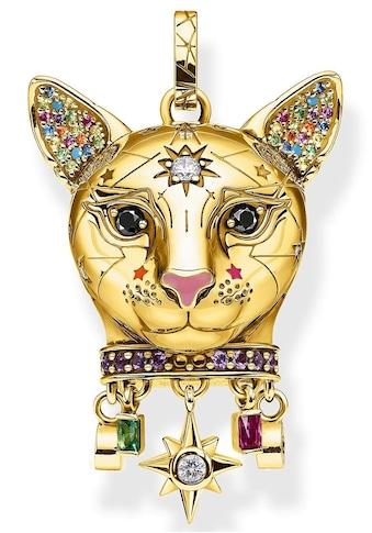 THOMAS SABO Kettenanhänger »Katze gold, PE856-471-7«, mit Emaille, synth. Korund,... kaufen