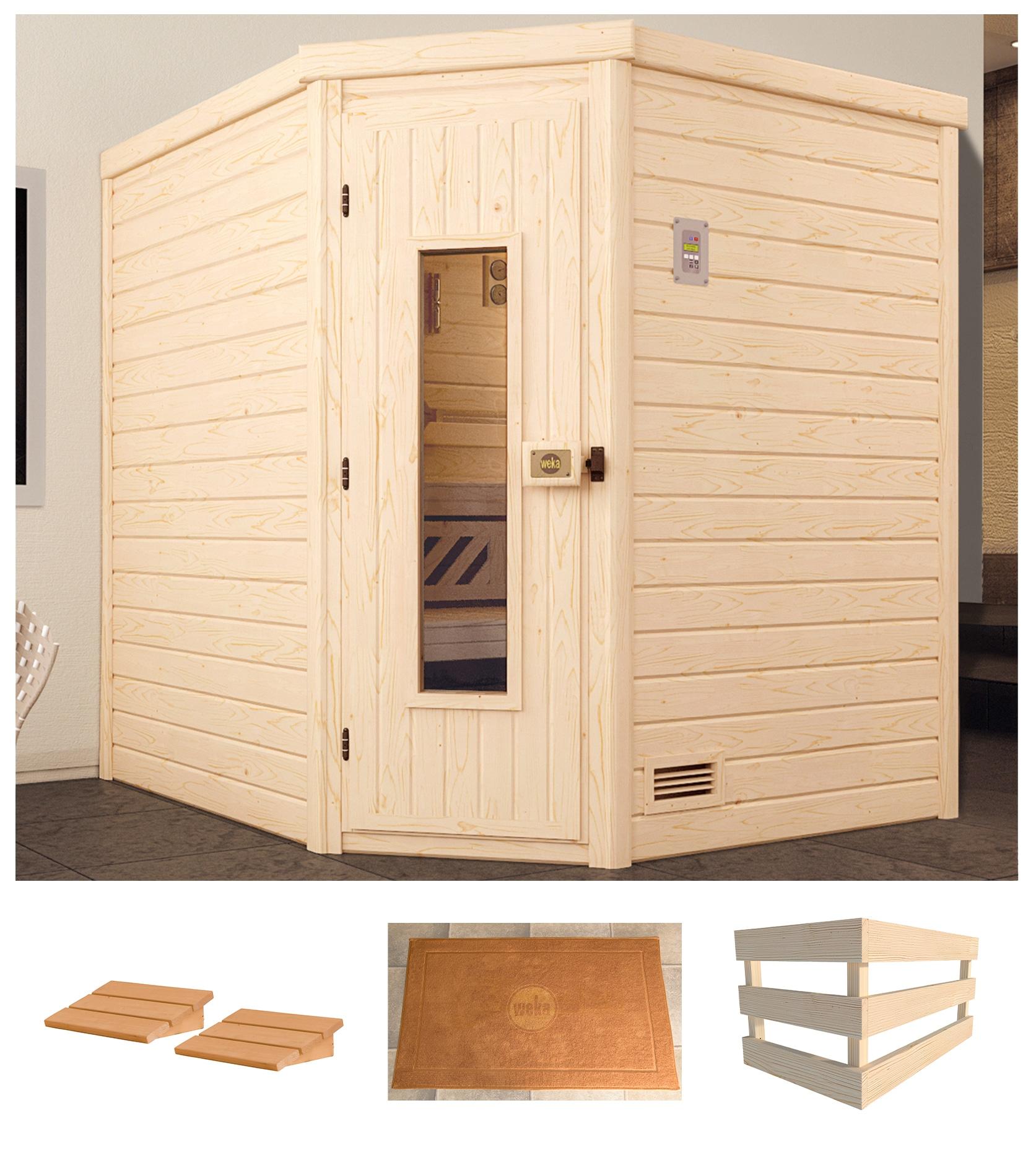 WEKA Sauna »Turku Eck Gr.1«, 195x195x204 cm, ohne Ofen, Holztür   Bad > Sauna & Zubehör > Saunen   Natur   WEKA