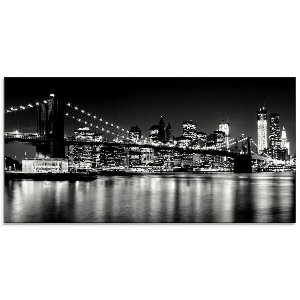 Artland Glasbild »Nächtliche Skyline Manhattan I«, Amerika, (1 St.)