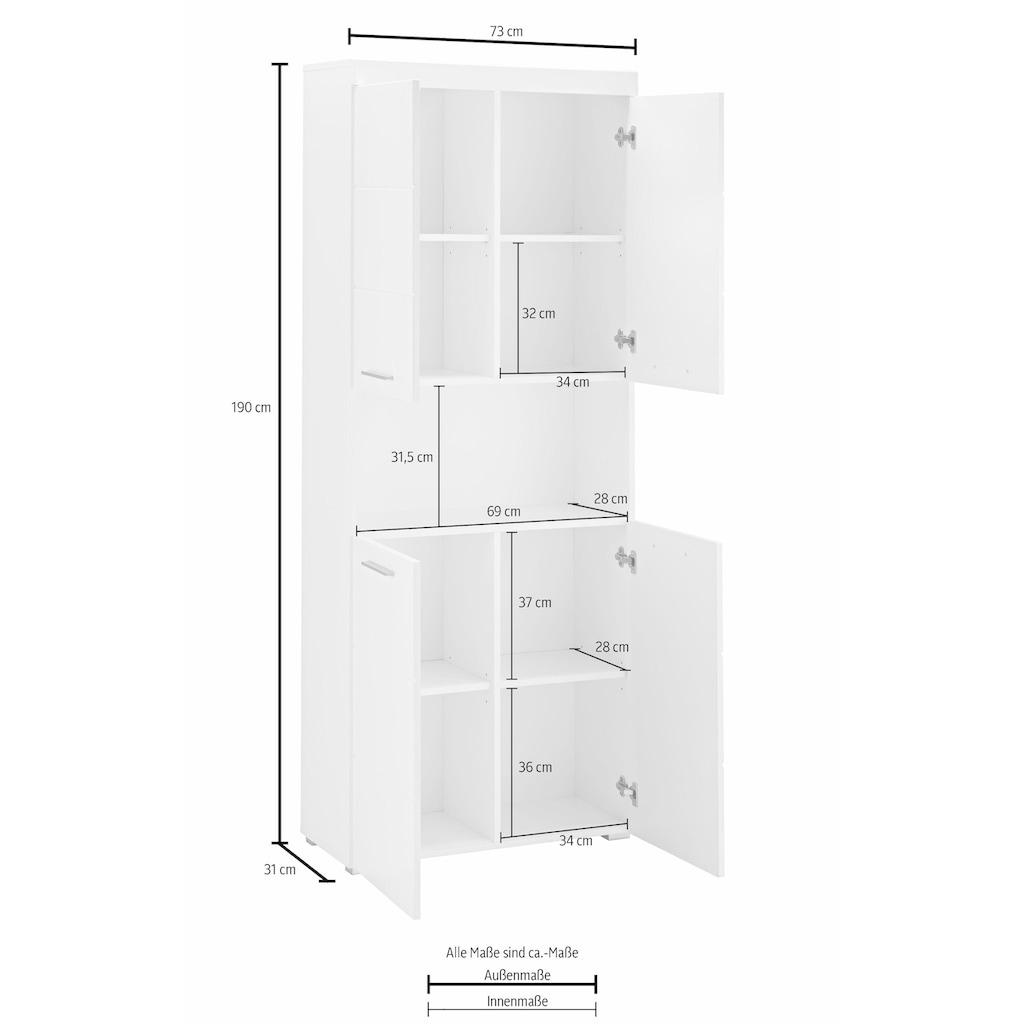 trendteam Hochschrank »Amanda«, Höhe 190 cm, Badezimmerschrank mit 4 Türen und 1 offenen Fach, verstellbare Zwischenböden, MDF-Fronten in Hochglanz- oder Holzoptik