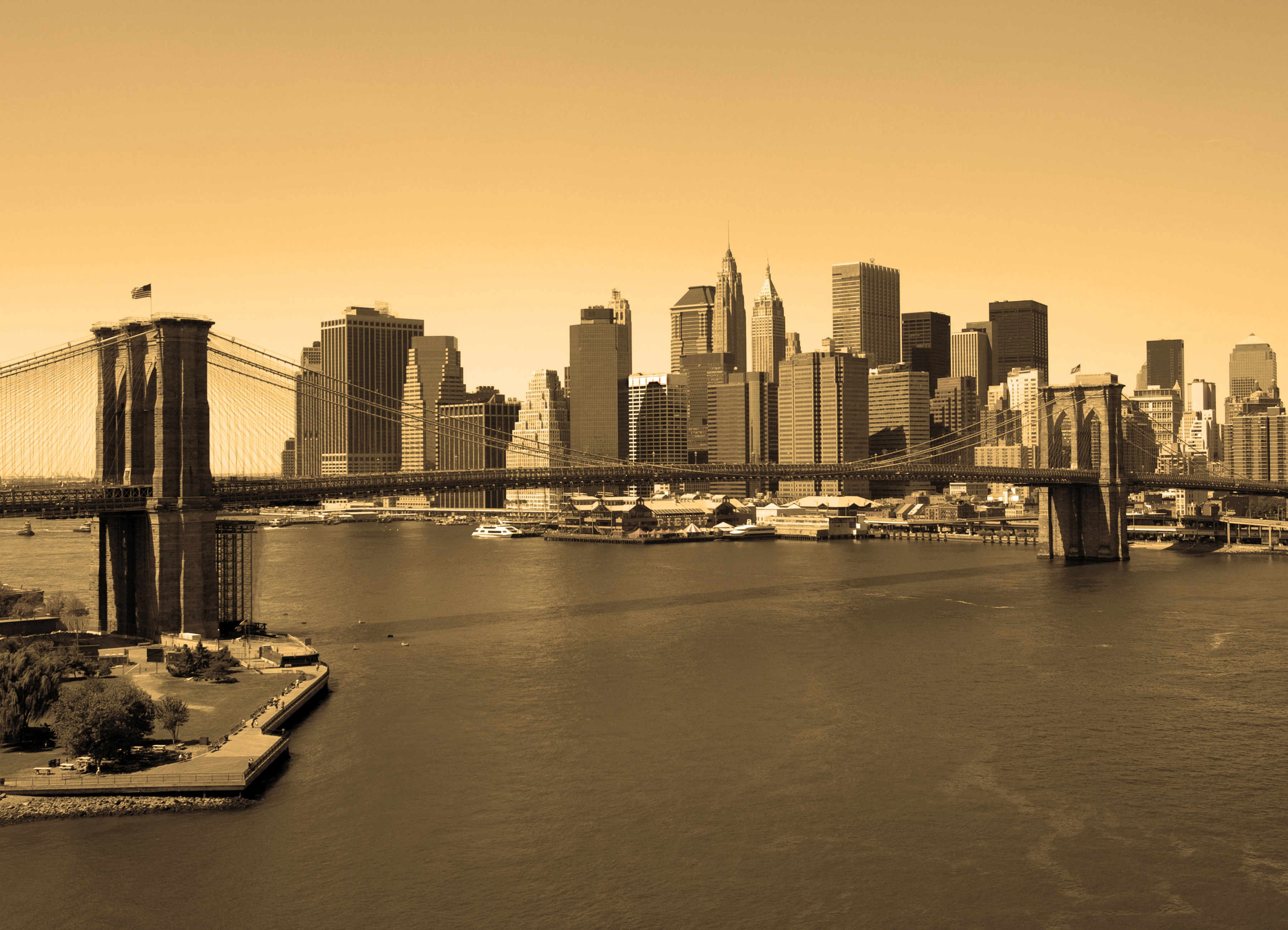 Fototapete »Brooklyn Bridge in Sepia« günstig online kaufen
