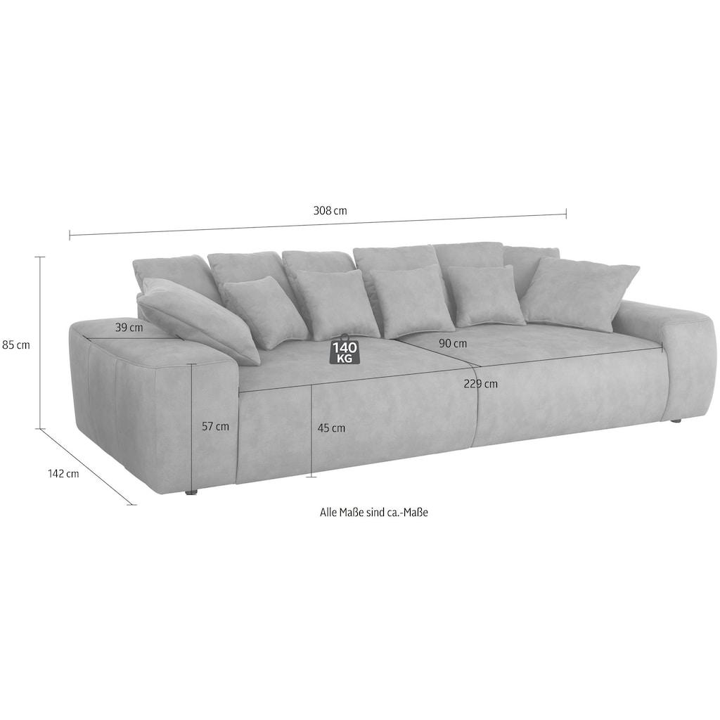 Home affaire Big-Sofa »Sundance«, mit vielen Kissen, Breite ca. 306 cm, Boxspring-Federung