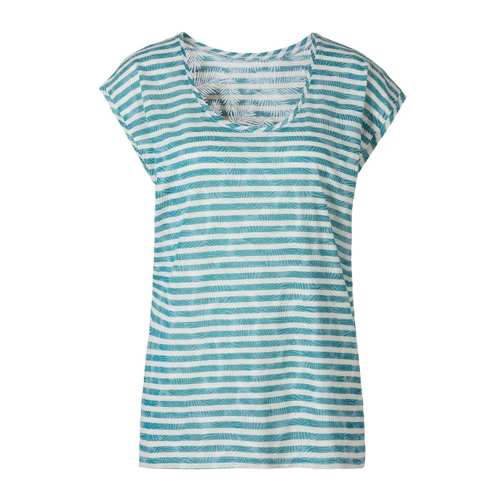 LASCANA T-Shirt, Ausbrenner-Qualität mit leicht transparentem Palmenblatt-Design