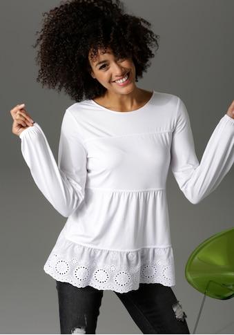 Aniston CASUAL Shirtbluse, mit hochwertiger Spitze am Saum - NEUE kaufen
